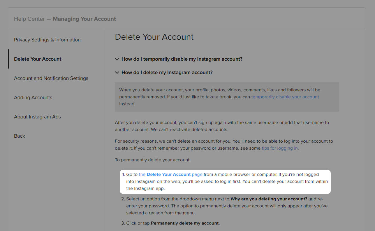 How to delete an Instagram account?